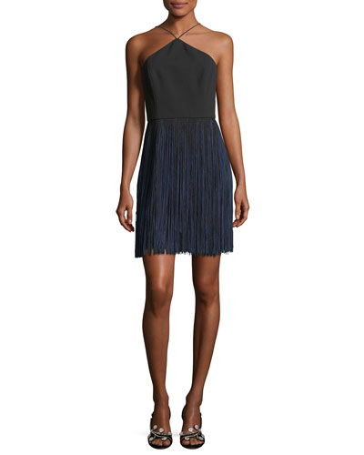 Crepe Halter Cocktail Dress w/ Fringe