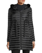 Moncler Barbel Quilted Puffer Coat with Fur Trim