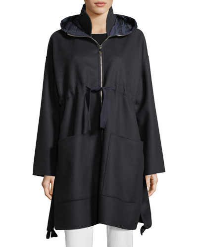 Oversized Self-Tie Coat w/ Hood