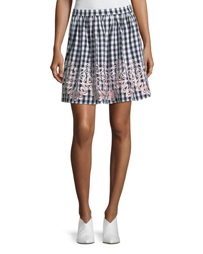 Embroidered-Trim Gingham Skirt