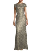 Short-Sleeve Metallic V-Back Evening Gown