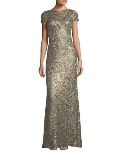 Short-Sleeve Metallic V-Back Evening Gown