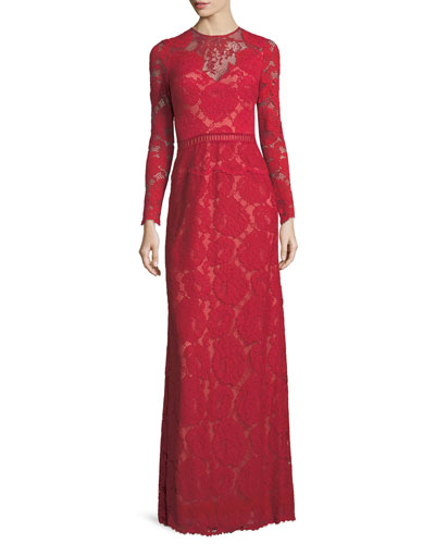 Long-Sleeve Lace Illusion Appliqué Evening Gown