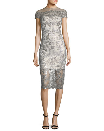 Lace Cap-Sleeve Illusion Cocktail Dress