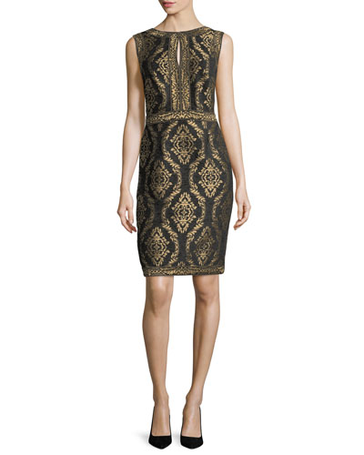 Sleeveless Baroque Jacquard Cocktail Dress