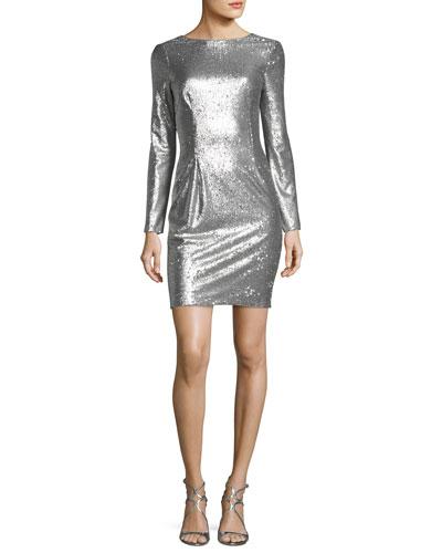 Sequin Deep V-Back Sheath Cocktail Dress