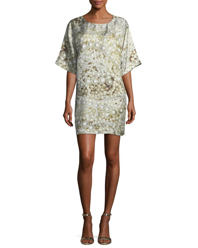 Pearl-Print Silk Shift Dress