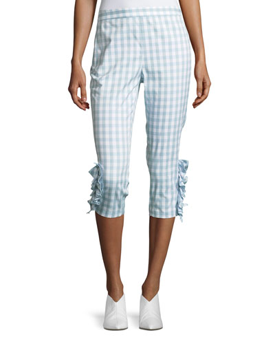 Ruffled-Trim Gingham Capri Pants