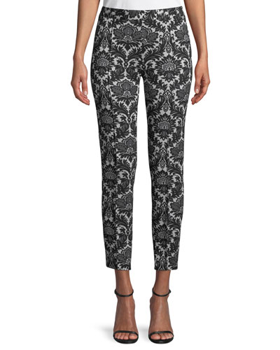 Baroque Slim Side-Zip Capri Pants