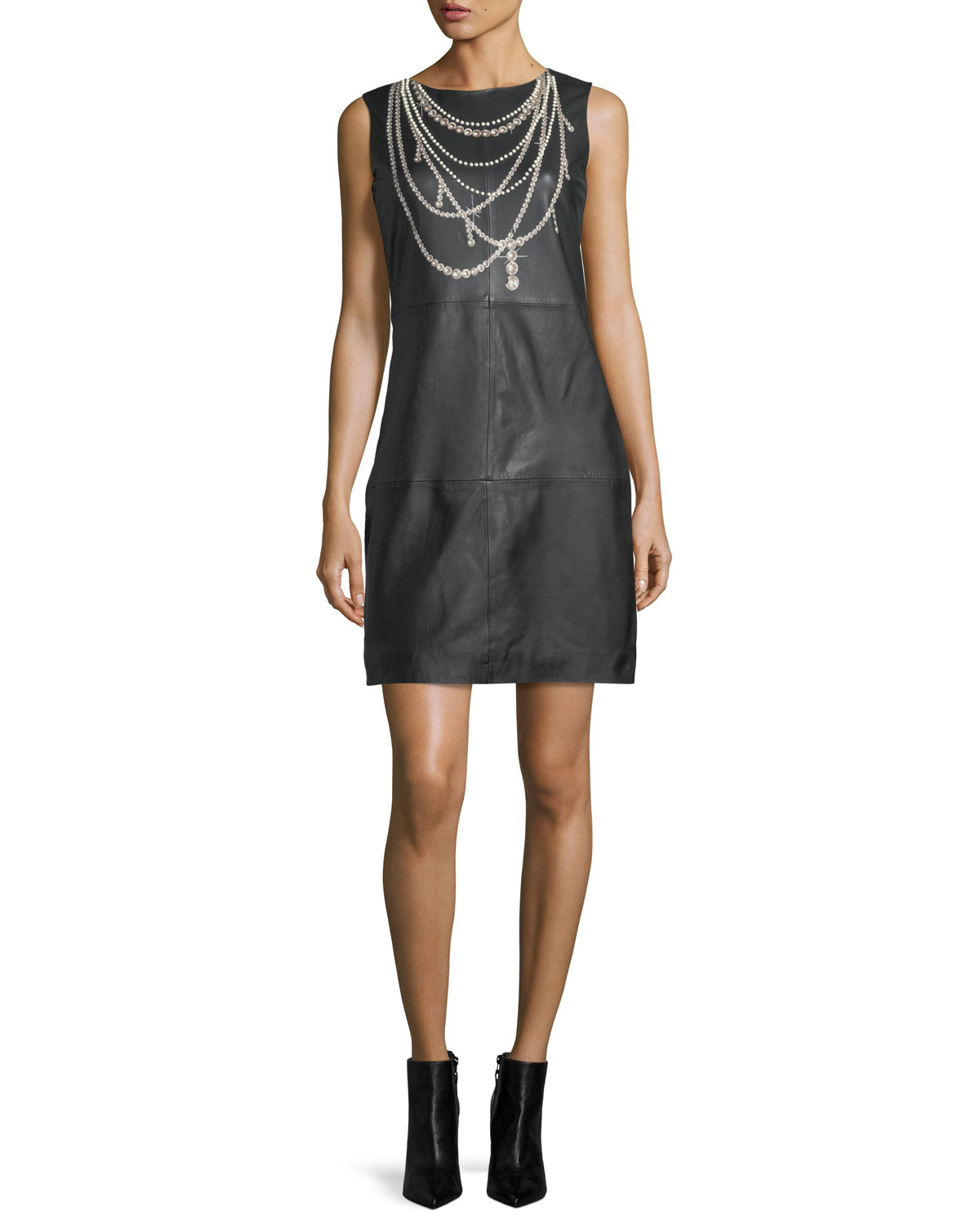 Pearl Necklace-Print Leather Shift Dress