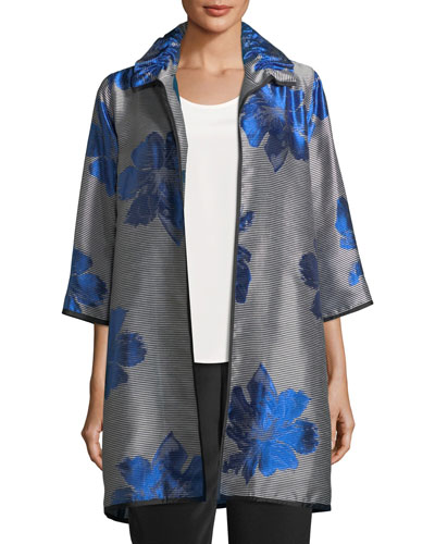 Floral Pop Topper Jacket, Plus Size