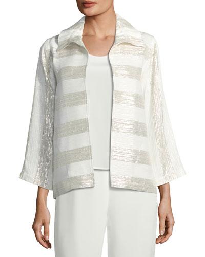 Metallic Striped Ruched-Collar Jacket, Petite
