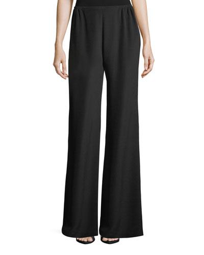 Silk Crepe Wide-Leg Pants, Petite