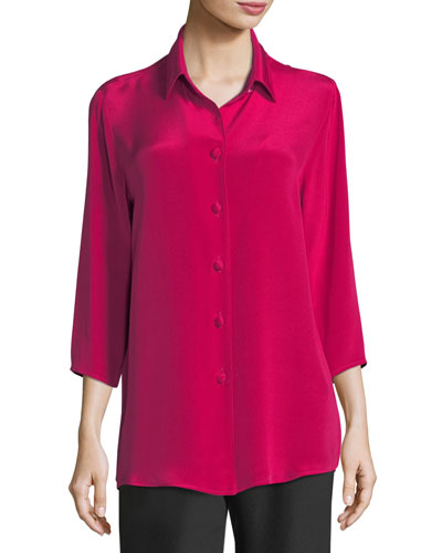 Silk Crepe Cocktail Blouse, Plus Size