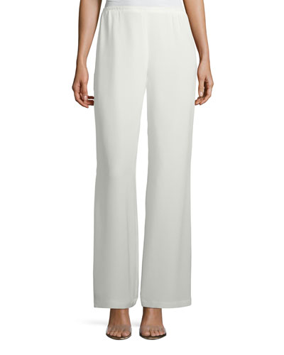 Silk Crepe Lined Wide-Leg Pants, Plus Size