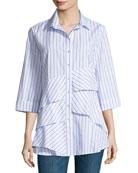 Jenna 3/4-Sleeve Ruffled Shirt