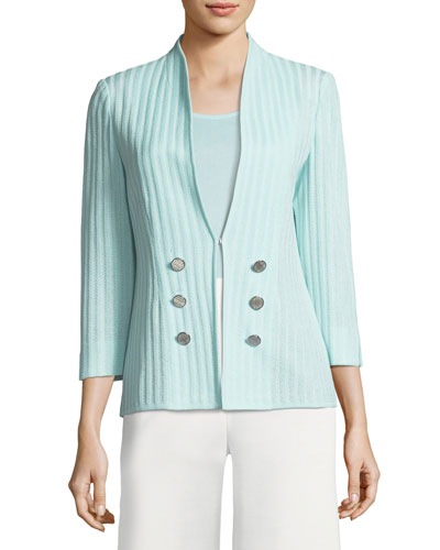 Ribbed 3/4-Sleeve Jacket