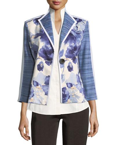 Watercolor Floral Stripe-Sleeve Jacket, Petite