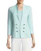 Ribbed 3/4-Sleeve Jacket, Plus Size