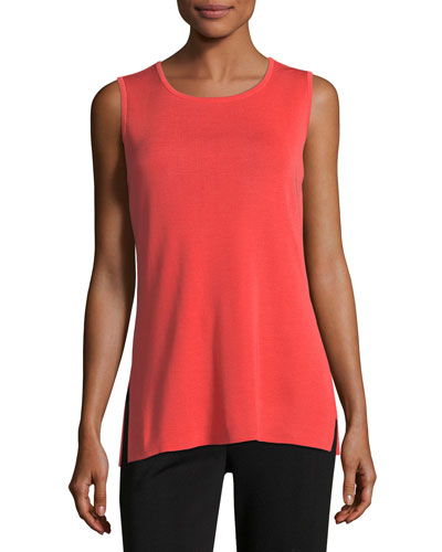 Sleeveless Long Tank, Grapefruit, Petite