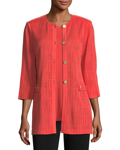Perforated 3/4-Sleeve Topper Jacket, Petite