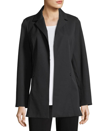 Notch-Lapel Stretch-Cotton Jacket, Plus Size