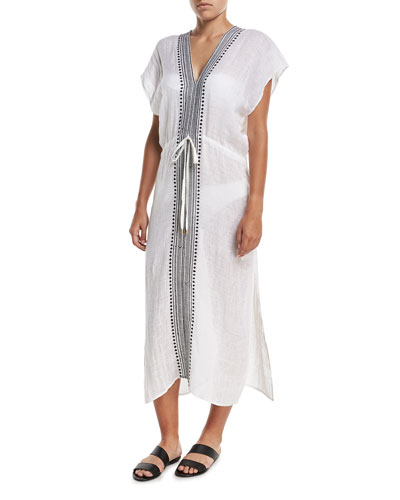 Tulum V-Neck Embroidered Linen Long Tunic