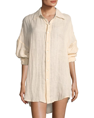 Playa Linen Coverup Shirtdress