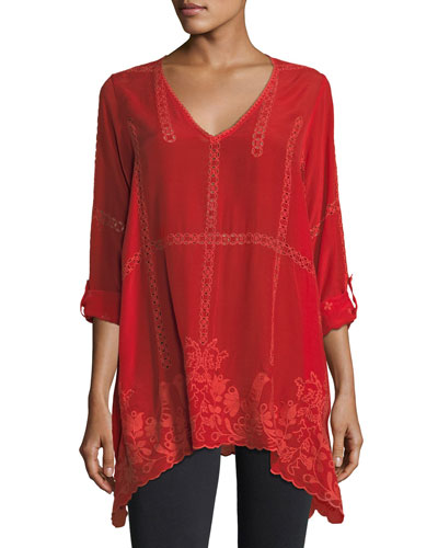 Cage Flare Long-Sleeve Tunic, Petite