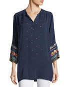 Patchwork-Sleeve Georgette Tunic, Plus Size