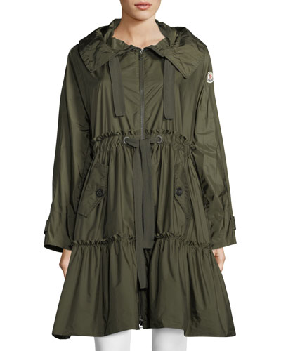 Long A-Line Frilly Rain Jacket