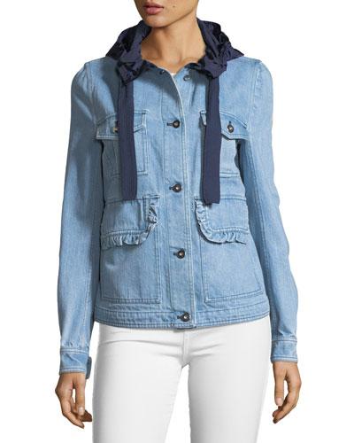 Resinite Button-Front Denim & Nylon Jacket