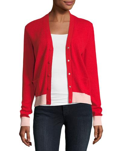 cashmere V-neck contrast cardigan