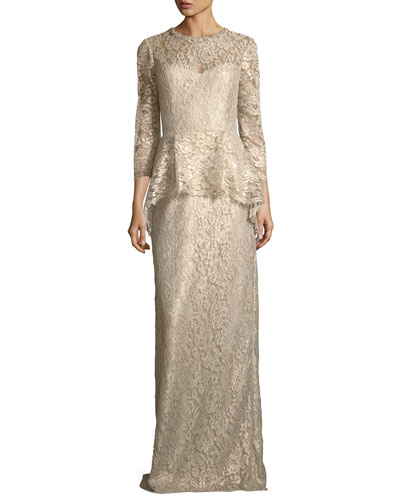 Lace Appliqué Long Peplum Three-Quarter Sleeve Gown
