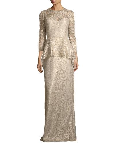 Lace Appliqué Long Peplum Three-Quarter Sleeve Gown