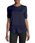 Maglia Frilly Half-Sleeve Peplum Shirt