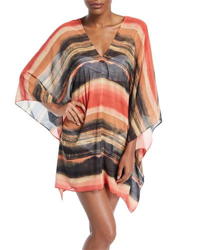 Pacific Sunset Kimono-Sleeve Printed Chiffon Dress with Metallic