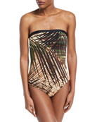 Rain Forest Strapless Bandeau Printed One-Piece Swimsuit