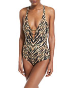 Reflections Printed Plunging One-Piece Swimsuit