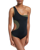 One-Shoulder Layered Colorblocked Swimsuit