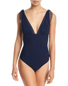Mirage Plunging One-Piece Swimsuit with Mesh