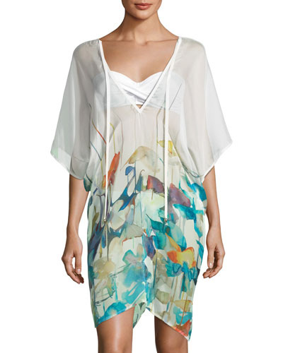 Lily V-Neck Watercolor-Print Poncho Coverup