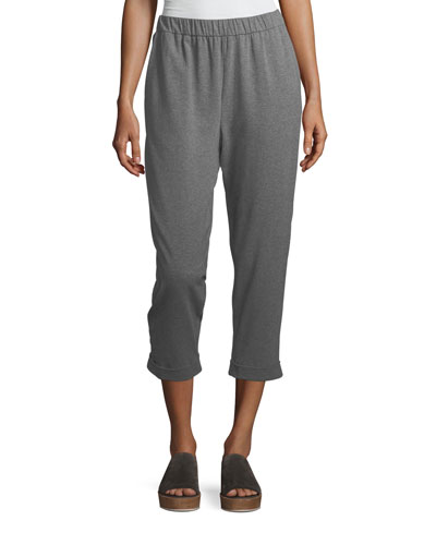 Plus Size Heathered Stretch Jersey Slouchy Cropped Pants