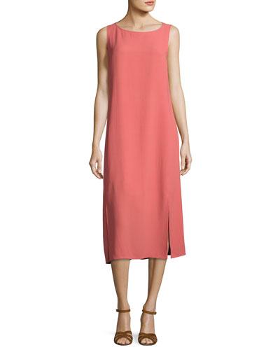 Silk Georgette Crepe Midi Tank Dress, Petite
