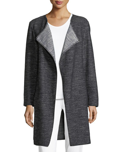Tweed Fray-Edge Long Jacket