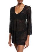 point loma v-neck crochet lace coverup tunic