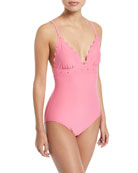 morro bay scalloped v-neck one-piece swimsuit