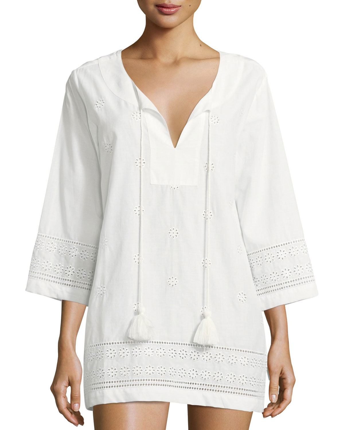 isal vista v-neck embroidered eyelet coverup tunic