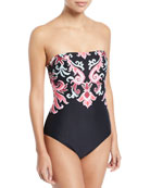 oasis beach strapless bandeau one-piece swimsuit
