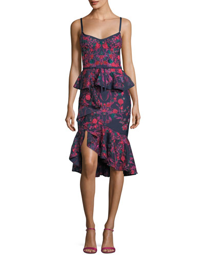 Floral-Print Scuba Ruffle Sheath Cocktail Dress